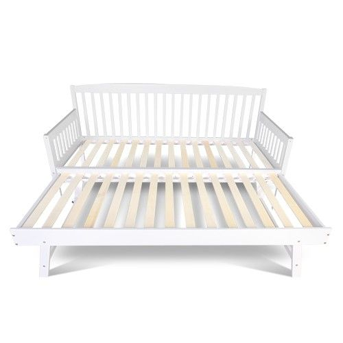 Sofa Bed w/ Pull Out Trundle Fold Out Legs Wooden Slats Daybed White SINGLE - Sofa Bed W/ Pull Out Trundle Fold Out Legs Wooden Slats Daybed