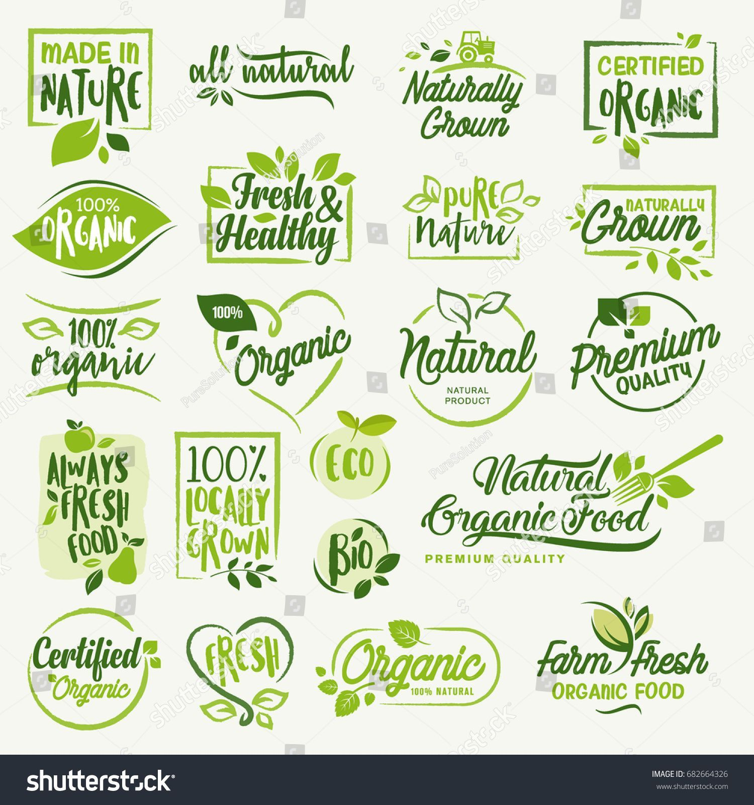 Organic food, farm fresh and natural product icons and