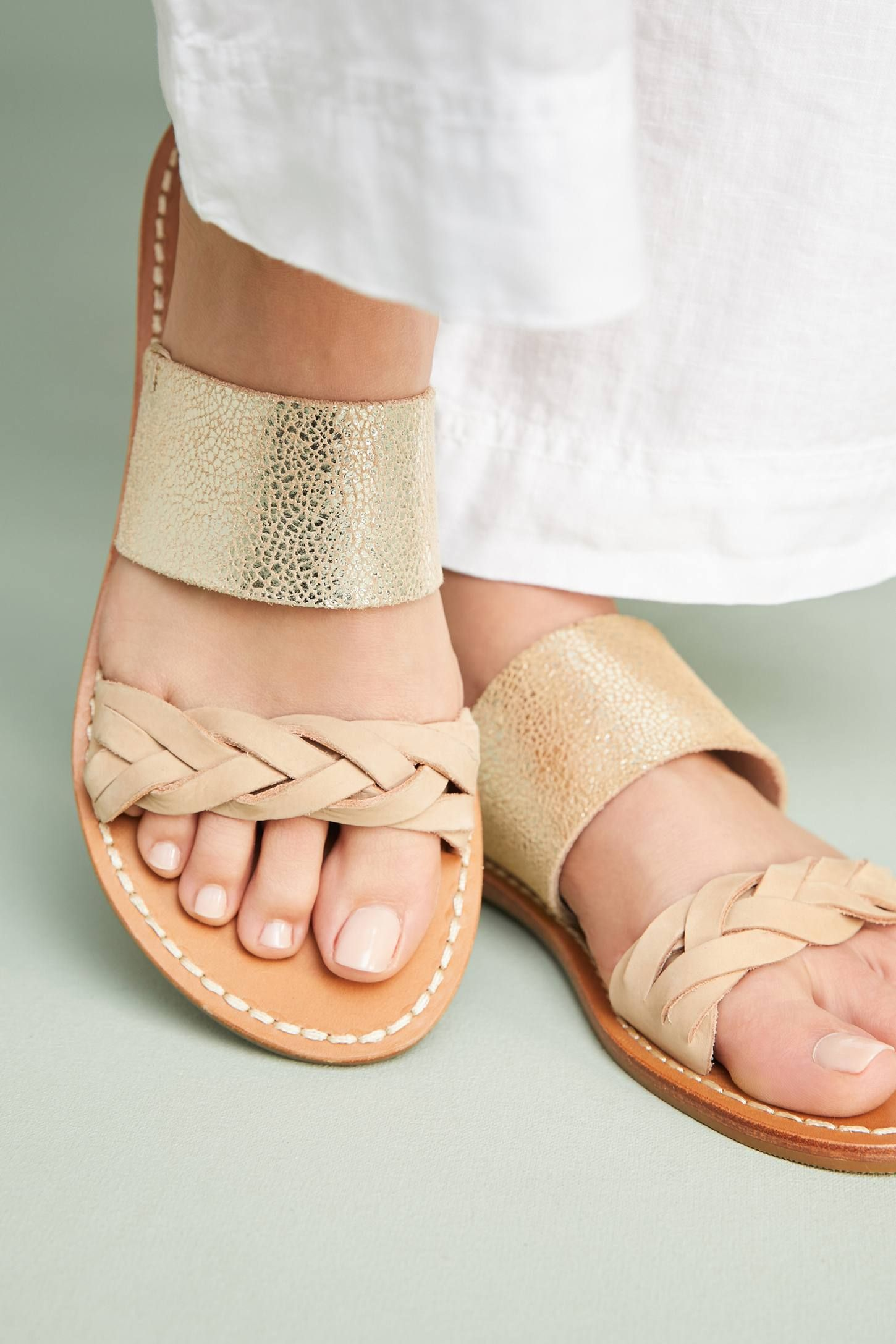 80467cdd9953 Shop the Soludos Metallic Braided Slide Sandals and more Anthropologie at  Anthropologie today. Read customer reviews