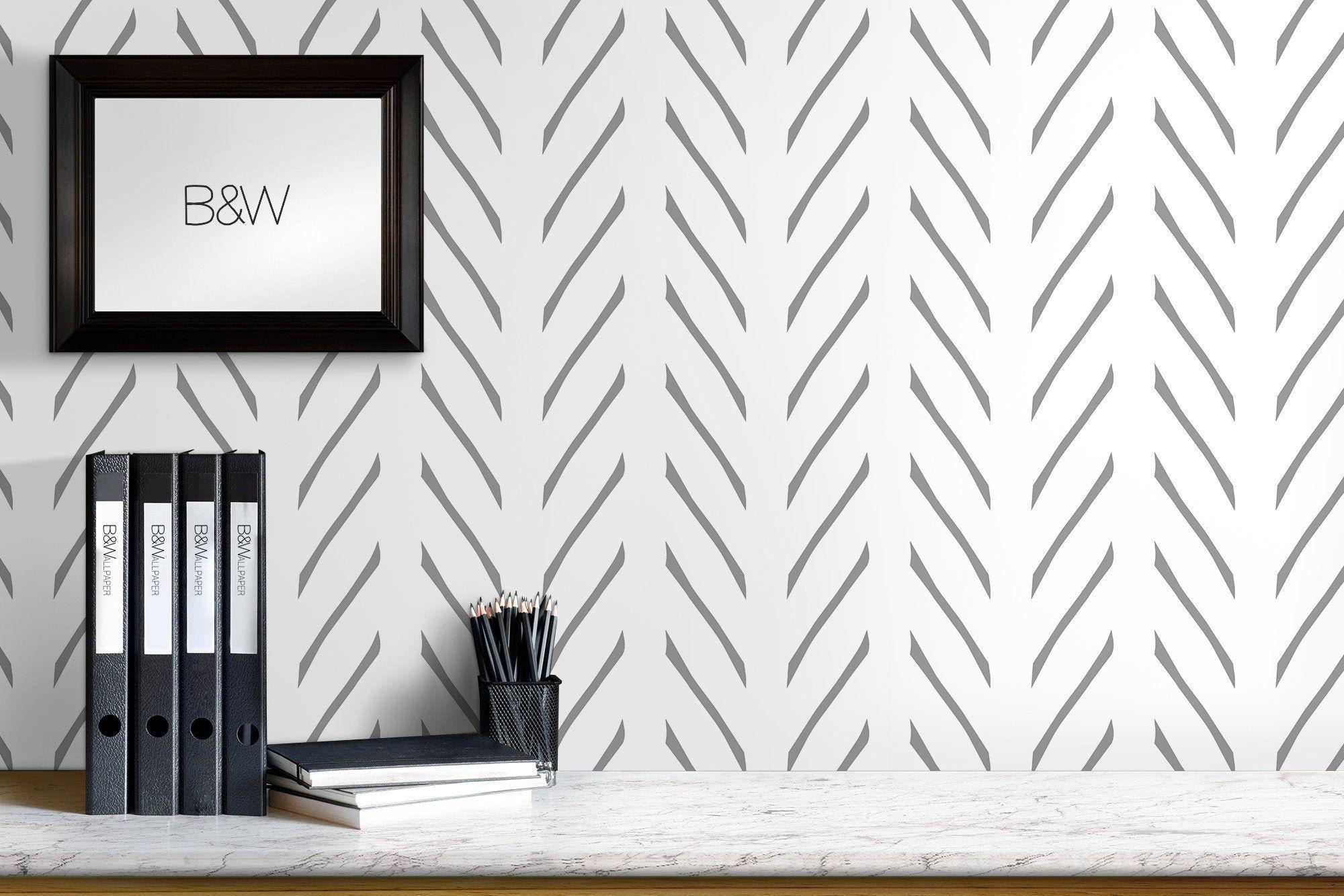 Peel And Stick Herringbone Wallpaper Black And White Wall Etsy Geometric Stripe Wallpaper Herringbone Wallpaper White Wall Decor