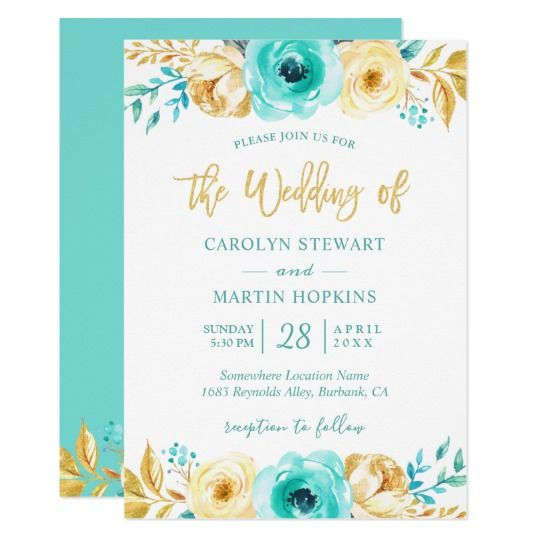 Turquoise Mint Gold Floral Romantic Chic Wedding
