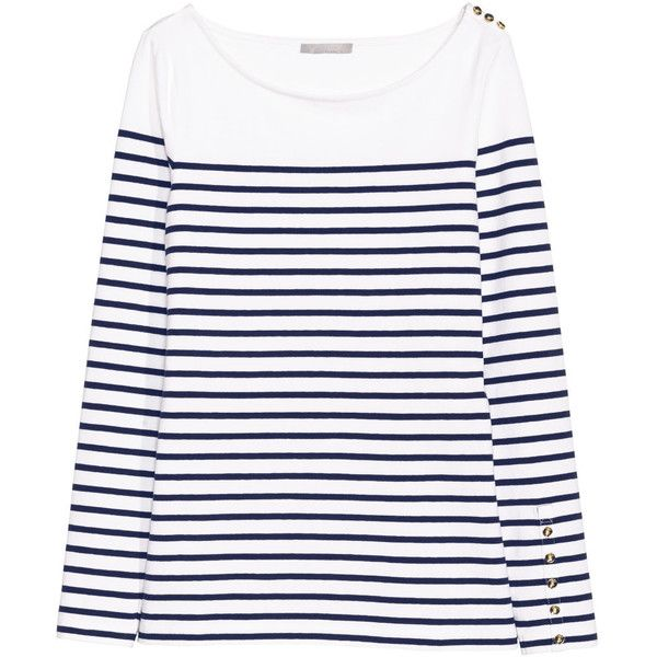 Striped Jersey Top $24.99 (€22) ❤ liked on Polyvore featuring tops