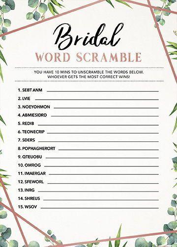 Bridal Shower Word Scramble, Bridal Shower Game Download, Printable, Instant, Word Game, Word Shuffle Game, Wedding Game, Greenery Rose Gold