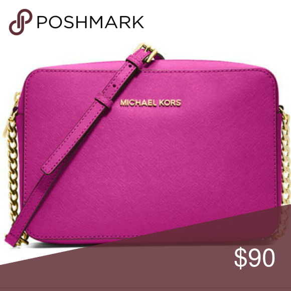 Michael Kors Leather Pink Gold Crossbody Pink MK purse Authentic Good shape  Strap is good Ships quick Michael Kors Bags Crossbody Bags aae359b3d1