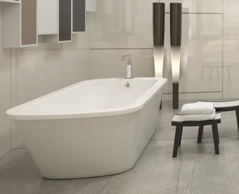 Oval Freestanding Soaking Tub End Drain Faucets Drain End Free