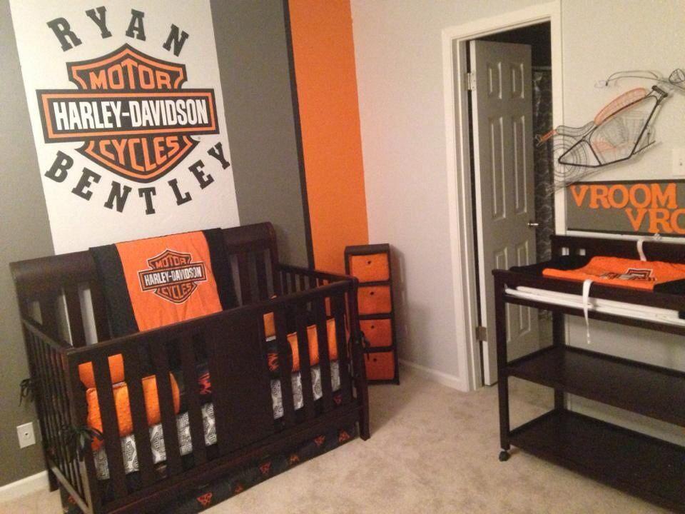 Www Sewunexpectedthreads Etsy Harley Davidson Biker Crib Bedding