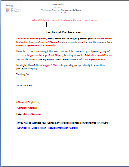 Letter Of Declaration  Download Template  Perfume