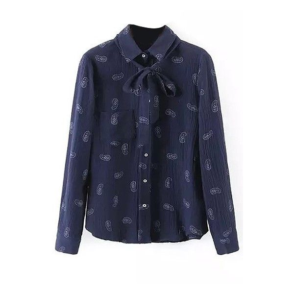 Vintage Tie Button Up Ling Sleeve Shirt Navy Blue