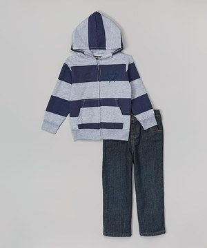 Another great find on #zulily! Gray & Blue Striped Zip-Up Hoodie & Jeans - Boys by Coney Island Kids #zulilyfinds