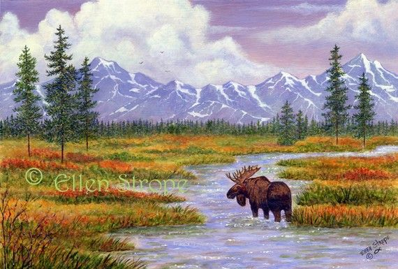 PRINT giclee prints MOOSE 8 X 12 moose by songmountainfineart