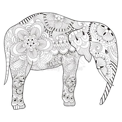 Hand Drawn Elephant With Mandala For Adult Antistress Coloring Pages Art Therapy Post Card