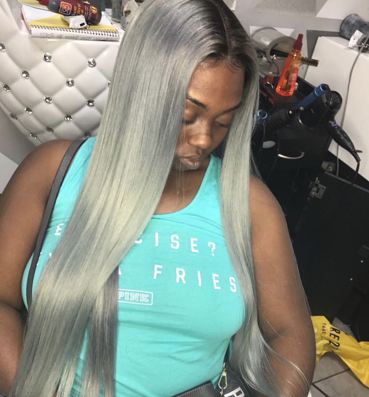 Grey Middle Part Frontal Sew In Middle Part Hairstyles Sew In Hairstyles Hair Styles