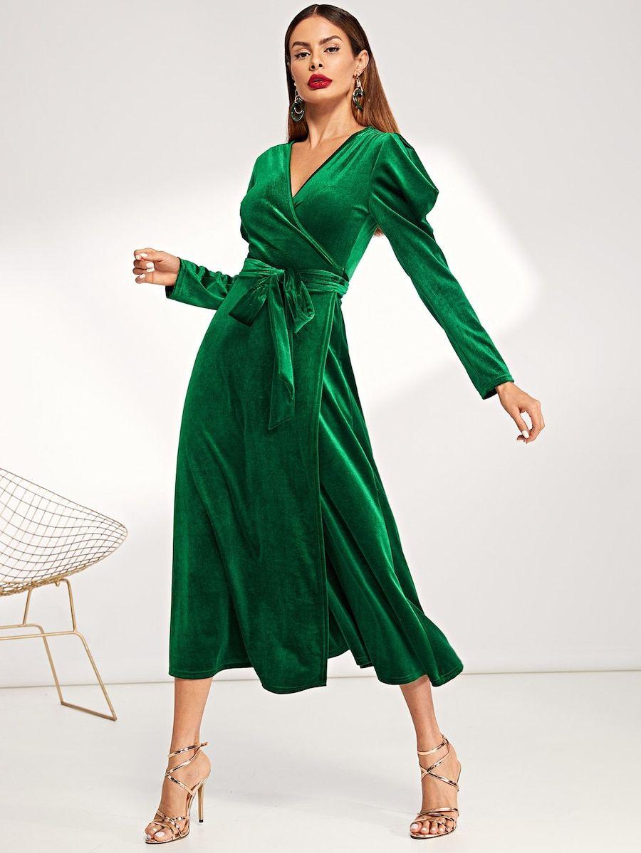 Cheap puff sleeve belted wrap split velvet dress for sale
