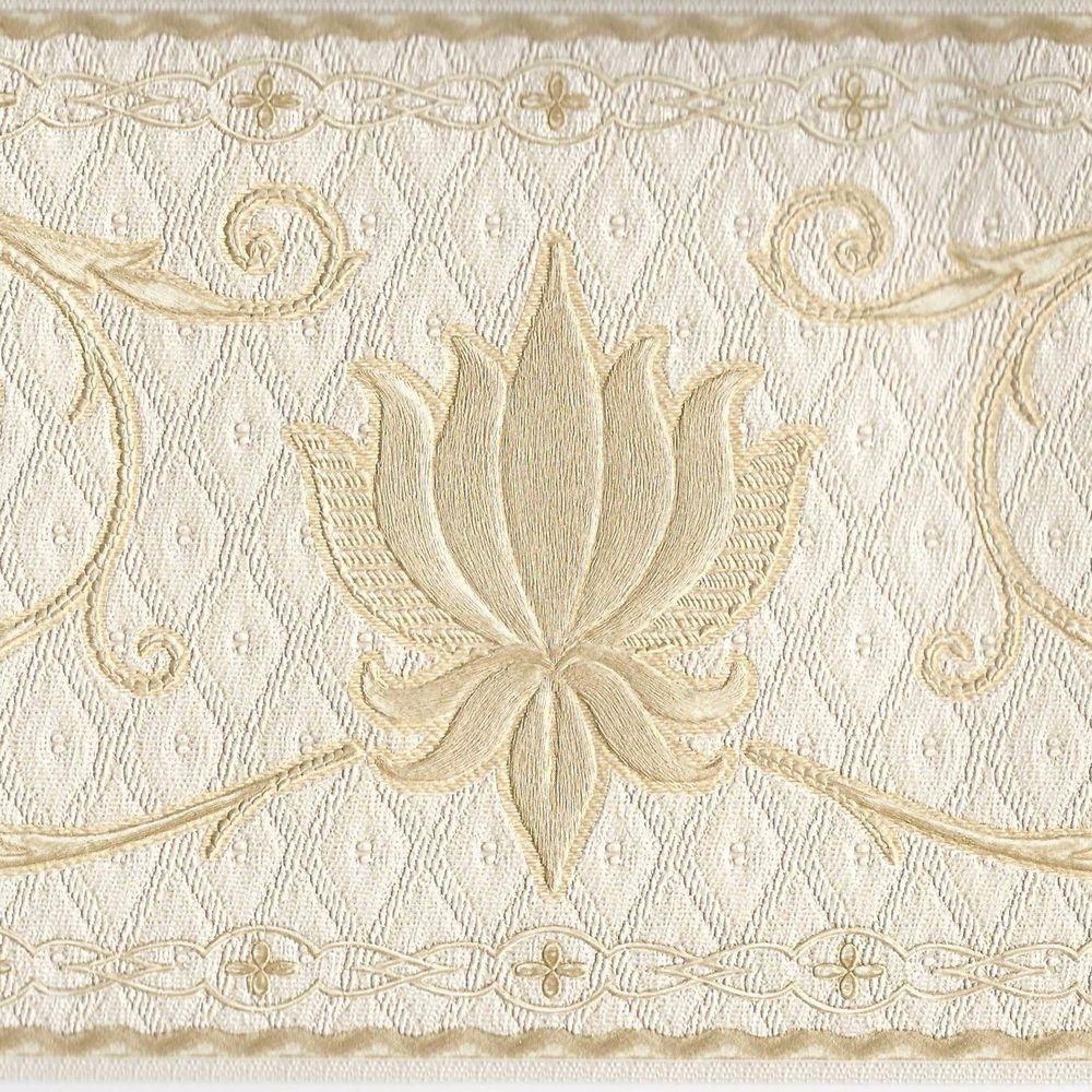 Victorian Gold Metallic Scrolls on Ivory Satin Finish