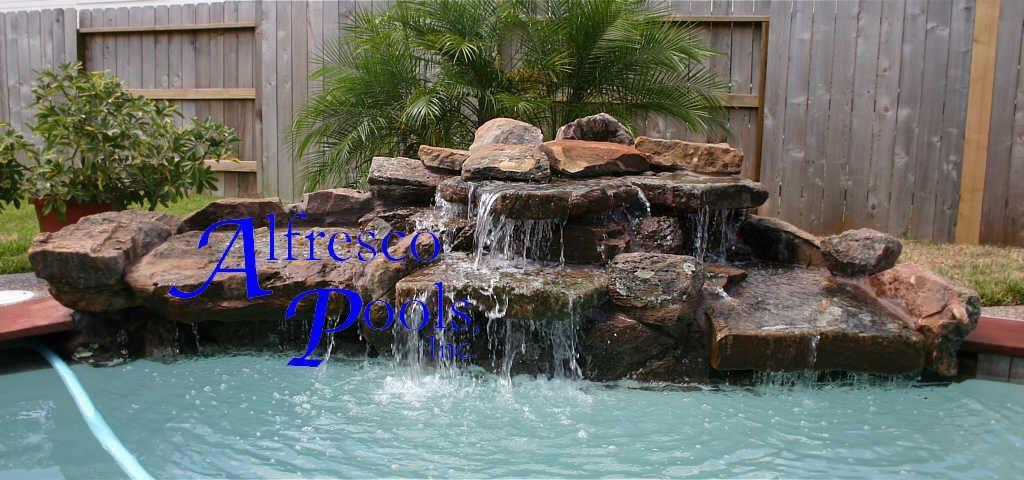 fake rock waterfalls Rock Waterfall Pool Rock Landscaping