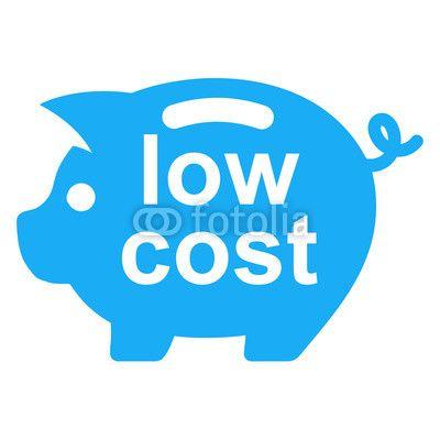 Icono texto low cost en hucha cerdito azul