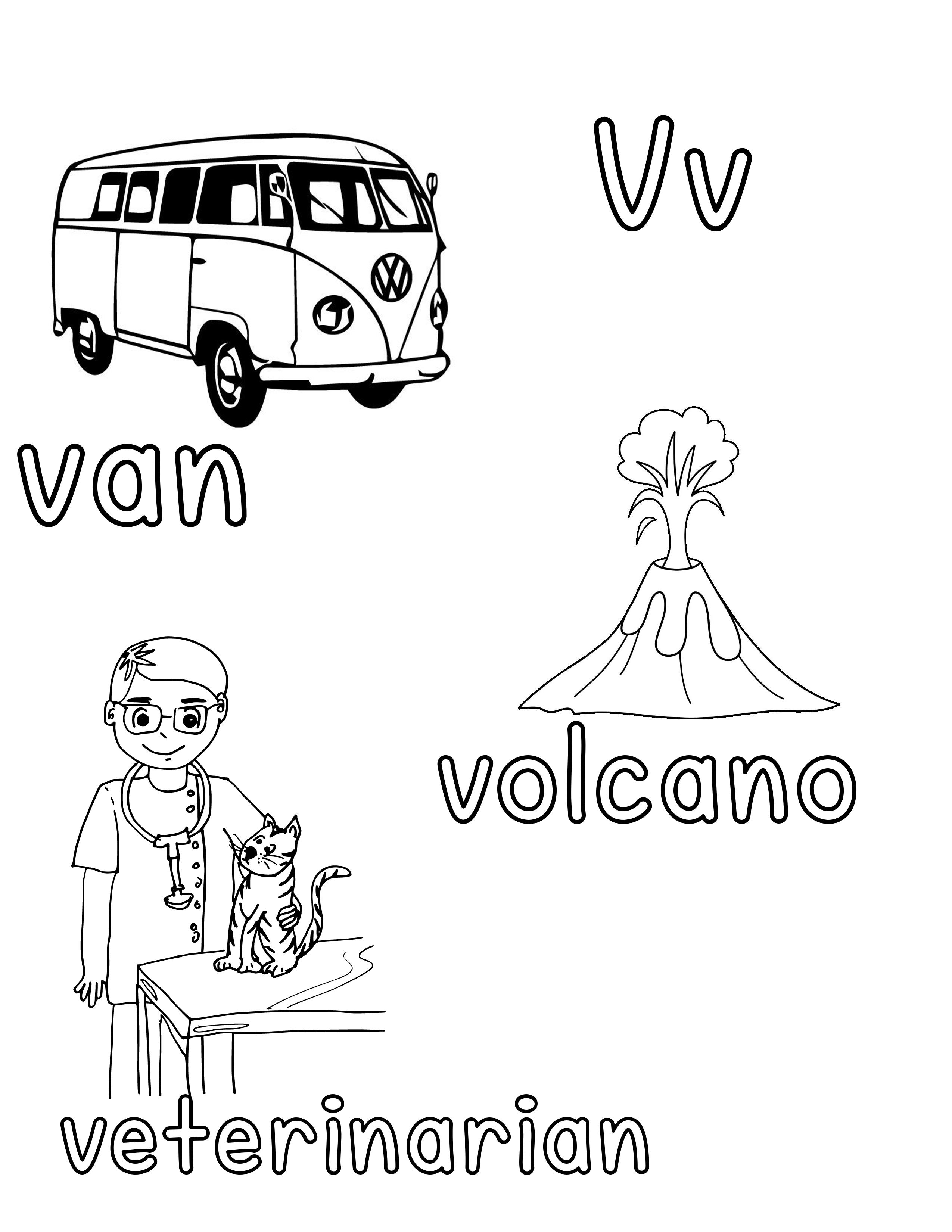 Phonetic Vv Coloring Sheet