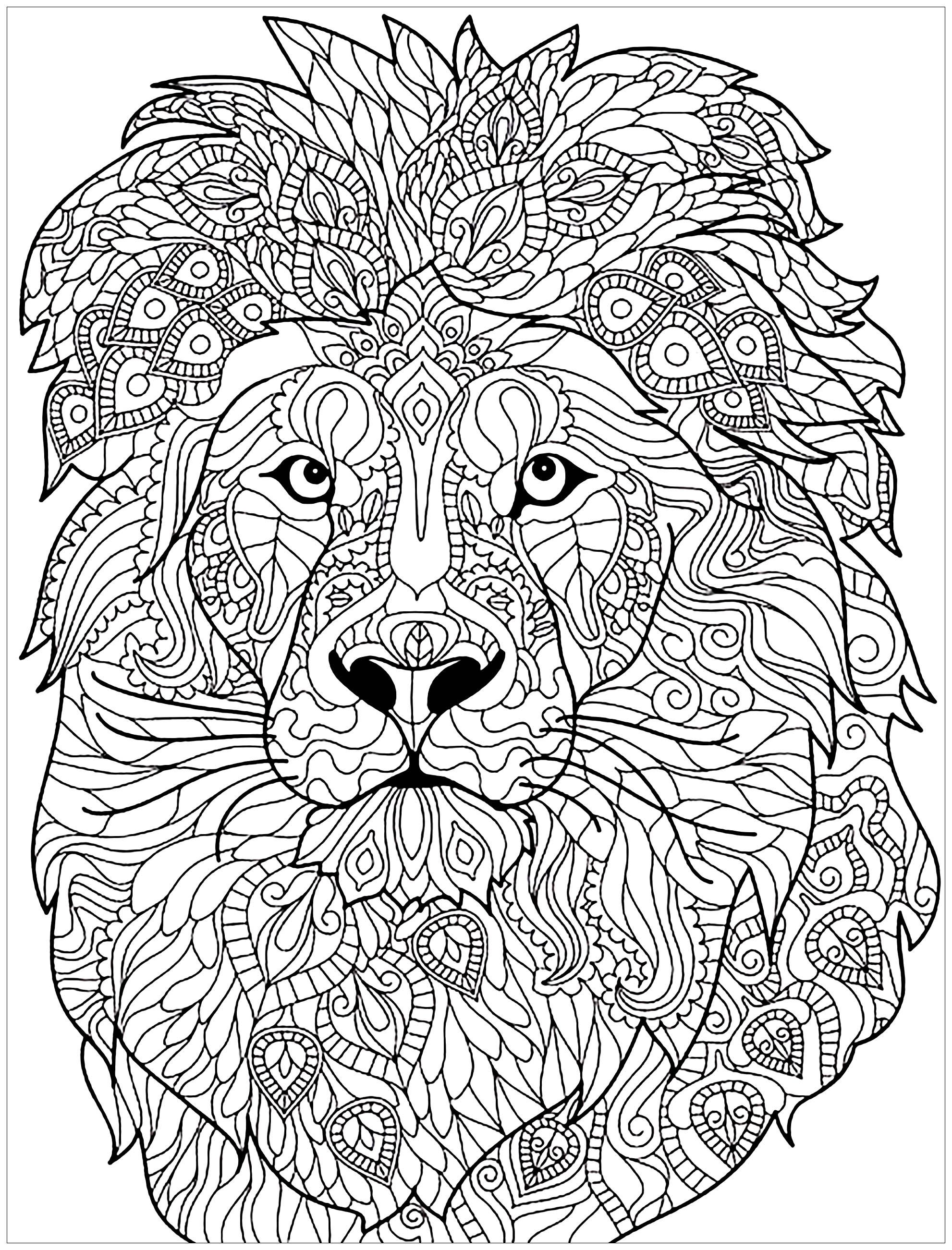 Lion Complex Patterns Lion Head With Very Complex Patterns From The Gallery Lions Just C Lion Coloring Pages Mandala Coloring Pages Animal Coloring Books