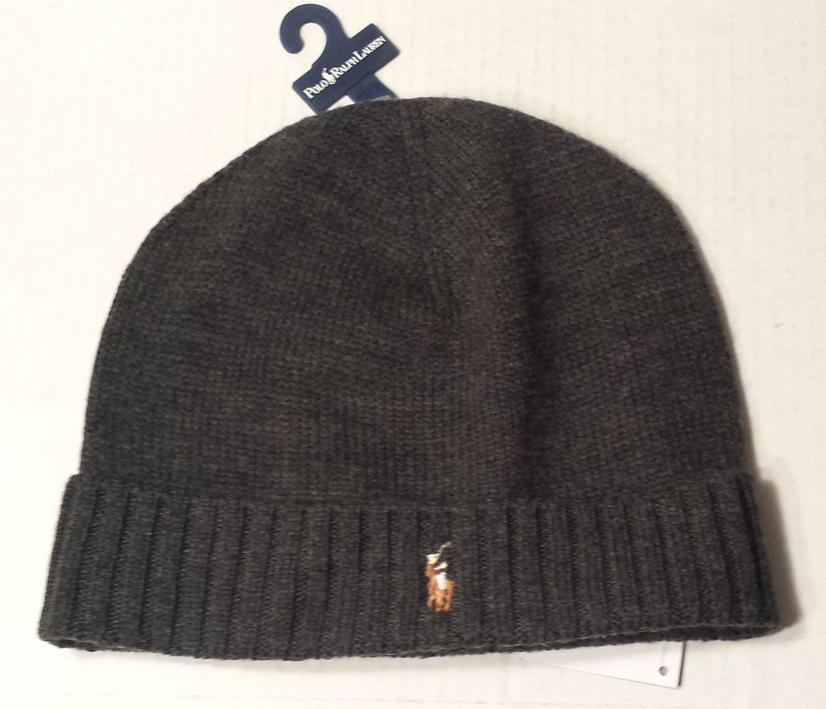 d502ed44f5a  ebay men hat POLO Ralph Lauren Merino wool Beanie With Cuff Hat Charcoal  RalphLauren withing
