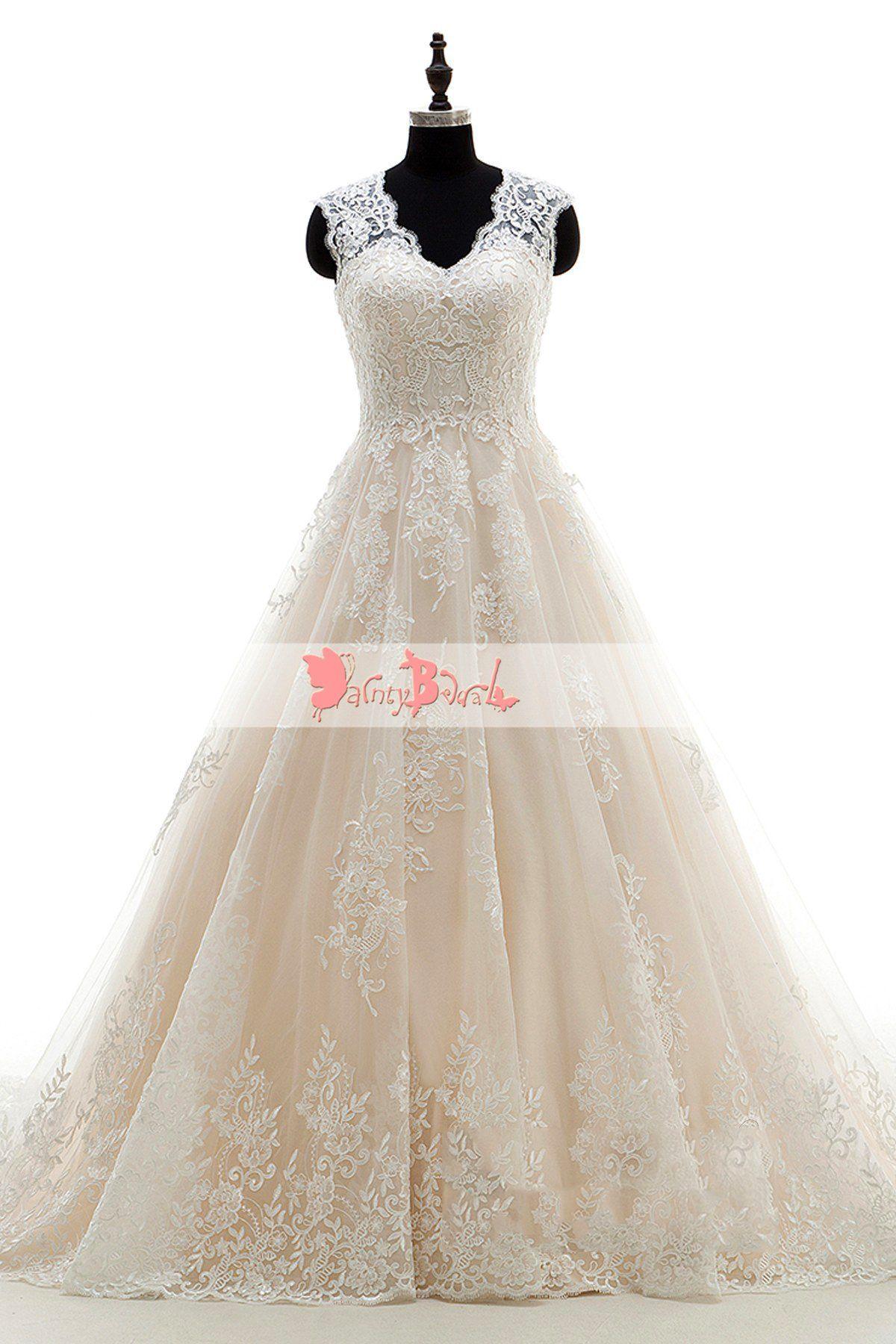 Light nude vintage lace see through back wedding dressesdb