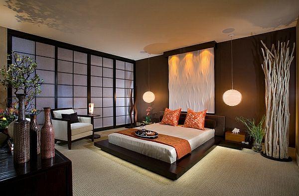 Asiatisch inspirierte Wohnideen bett leuchter sofa Wohnidee - schlafzimmer asiatisch