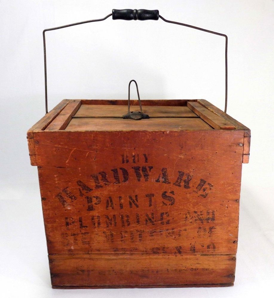 Late 19th C Vint 1897 A G Peaser Co Hardware Red Painted Tool Box W Lid Handle Rusticprimitive Agpe Wooden Crate Boxes Vintage Crates Wooden Shipping Crates