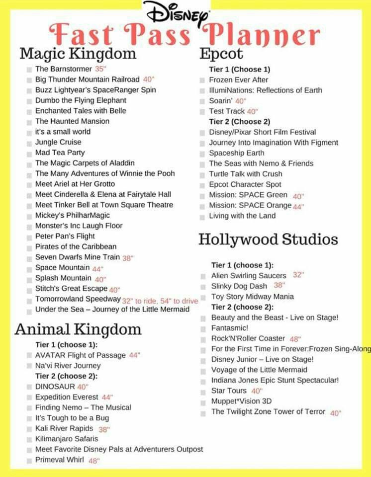 Best Fast Passes For Hollywood Studios 2019 Walt Disney World FastPass tiers | Disney World 2019 in 2019