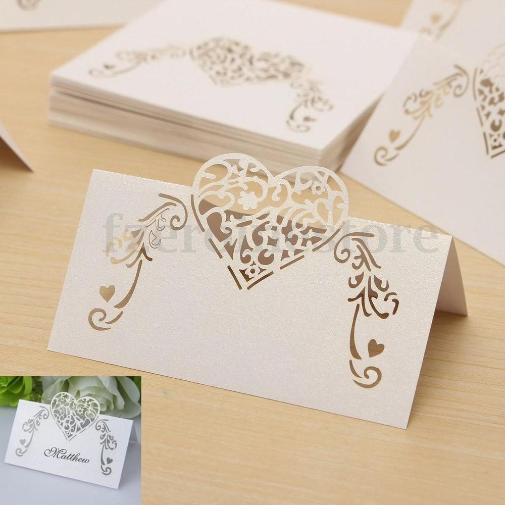 Details zu 50x platzkarten tischkarten namenskarten herz - Tischkarten ideen ...