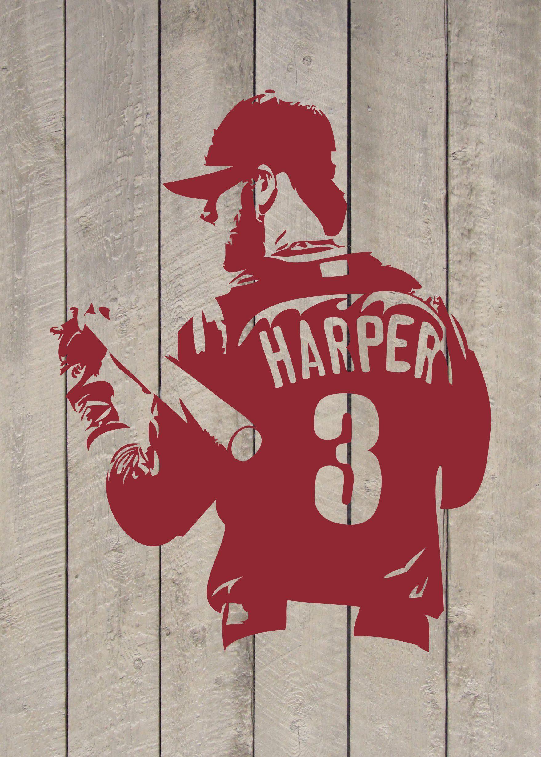 Bryce Harper Philadelphia Phillies Baseball Vinyl Wall Decal Etsy Phillies Baseball Philadelphia Phillies Baseball Philadelphia Phillies