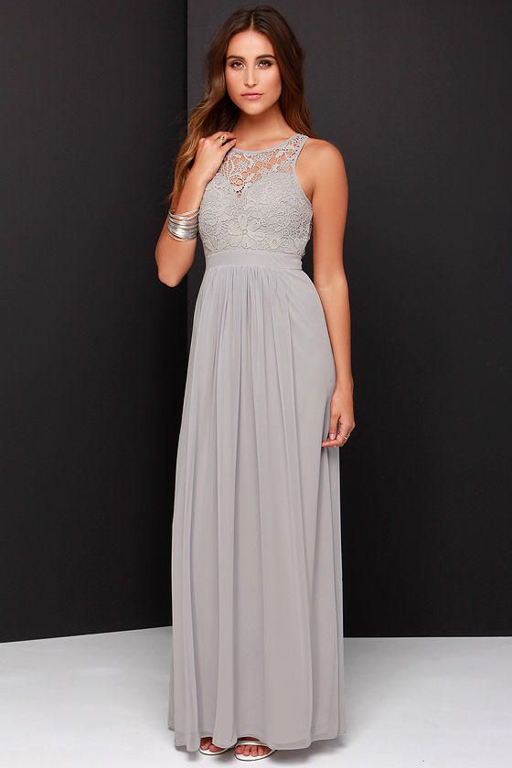 Go one step beyond the dress of your dreams and you'll find the So Far Gown  Grey Lace Maxi Dress! Crocheted lace tops a sweetheart bodice and chiffon  maxi ...