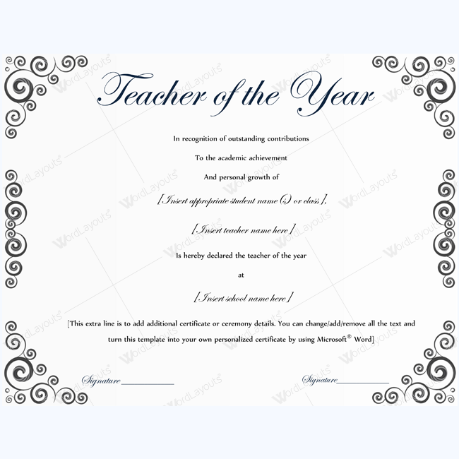 Teacher Of The Year Certificate Sample Certificate