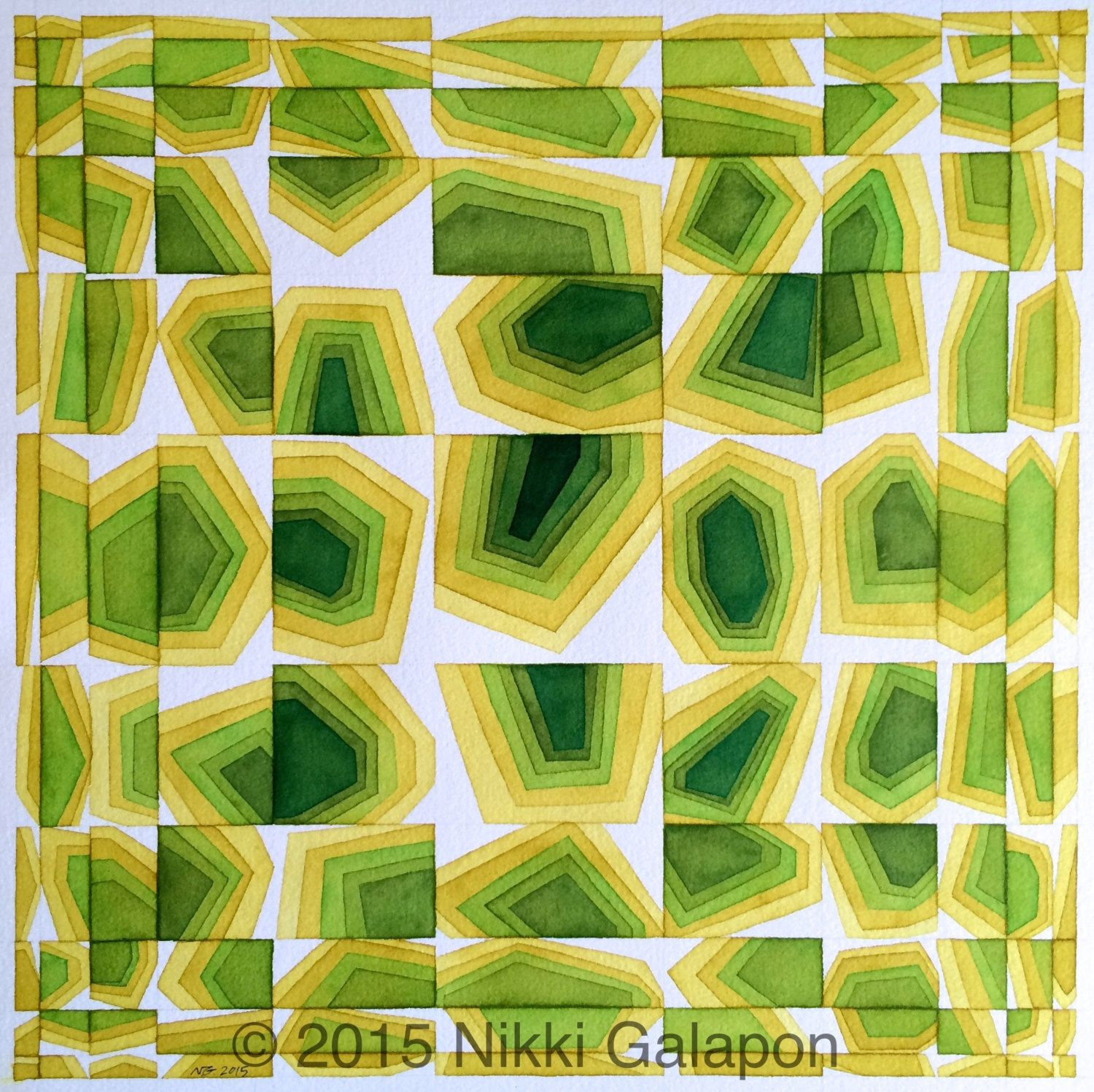 Shades of Green original geometric shapes abstract modern art ...