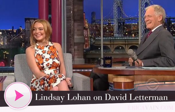 Lindsay Lohan Visits David Letterman And Talks About Scary Movie 5 And Going Back To Rehab Lindsay Lohan David Letterman Lindsay