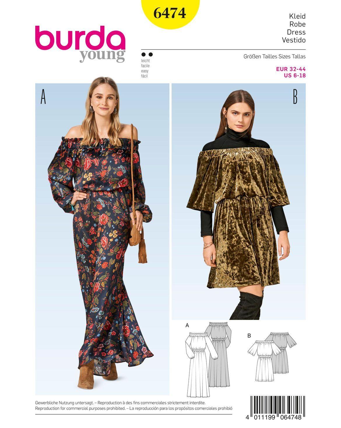 burda style, Schnittmuster, Carmenkleid H/W 2017 #6474, Kleider mit ...