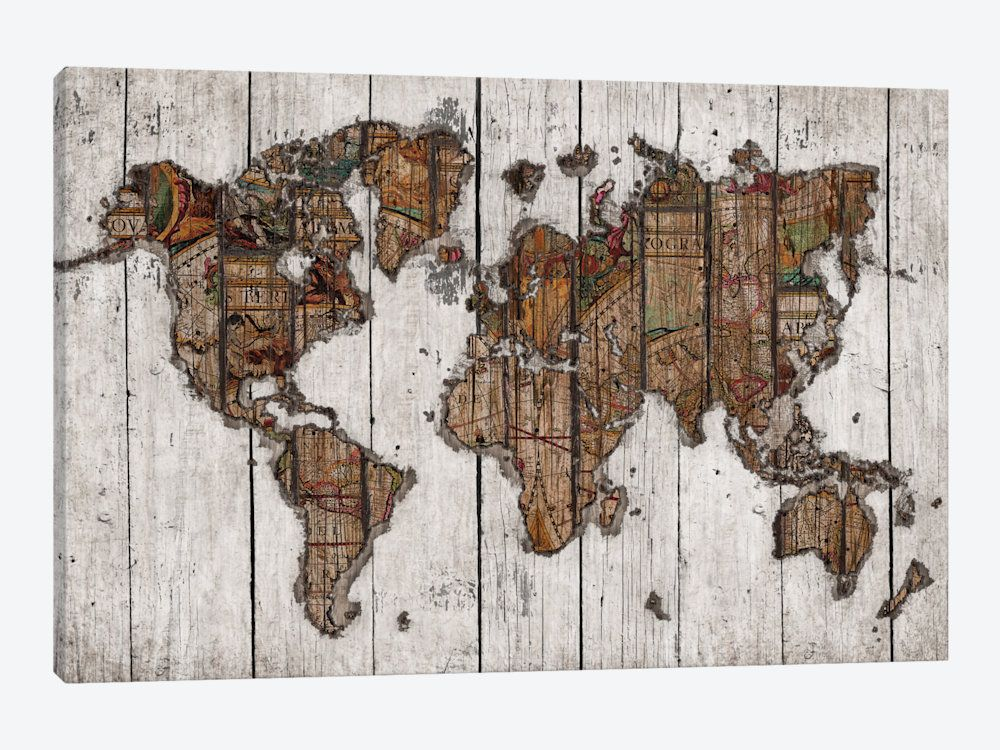Wood Map Canvas Print by Diego Tirigall | office | Pinterest | Woods ...