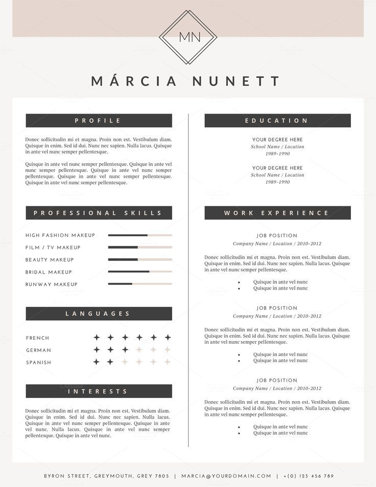 Resume Template for MS Word tyxgb76aj - european resume template