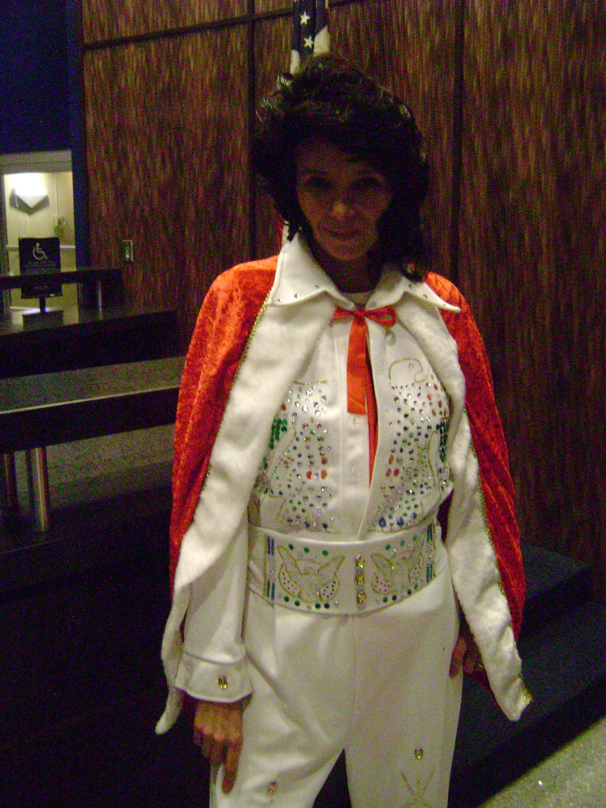 Homemade Elvis costume. I made this from a two piece suit I sewed together. Then bedazzle the hell out of it.