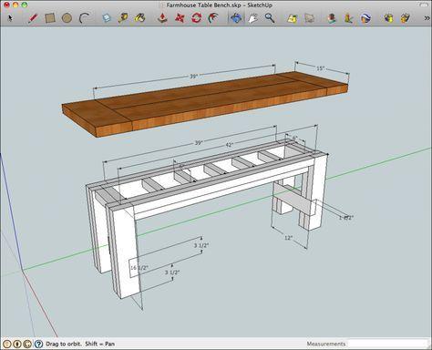 Rustic Farmhouse Table Bench Plans
