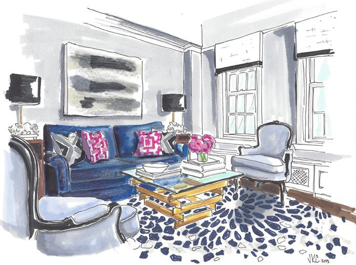 Interior Hand Rendering By Jeanne K Chung Of Cozy Stylish Chic