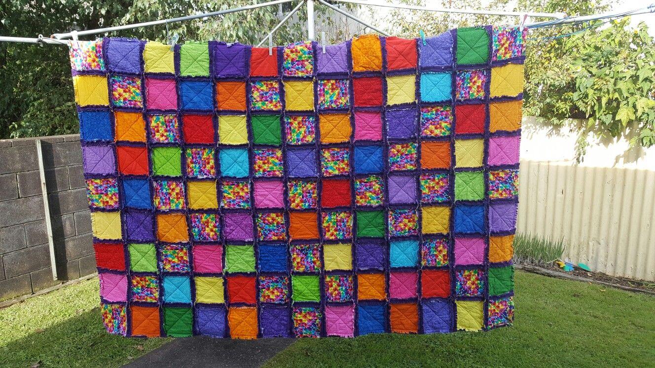 Rainbow rag quilt polar fleece batting and cotton for a double