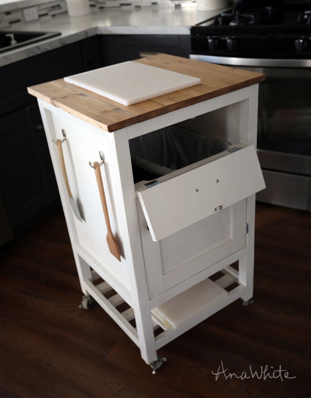 Ana White Build A How To Small Kitchen Island Prep Cart With Compost Free And Easy Diy Project And Fu Diy Kitchen Cart Kitchen Design Kitchen Island Plans