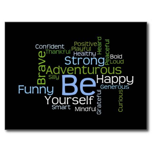 Be yourself inspirational word cloud postcard word clouds and cloud be yourself inspirational word cloud post card this text design is called a word cloud business reheart Choice Image