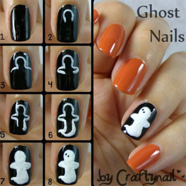 Step By Step Halloween Nail Art Tutorials Ghost Nails Halloween Nail Art Tutorial Cute Halloween Nails Halloween Nails Easy