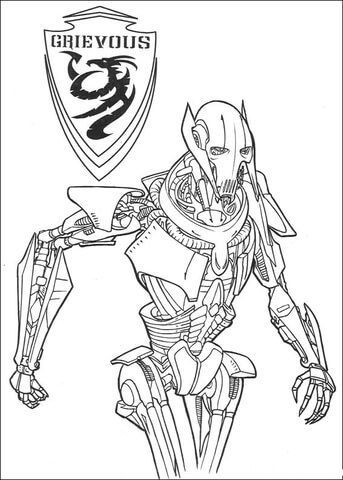 Grievous Coloring Page From Revenge Of The Sith Category Select From 25683 Printable Crafts Of Cartoon Star Wars Coloring Book Coloring Books Star Wars Colors