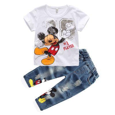 098847261125 MIckey Mouse Cotton Short Sleeve T Shirt+ Jeans 2pcs Suit Kids ...
