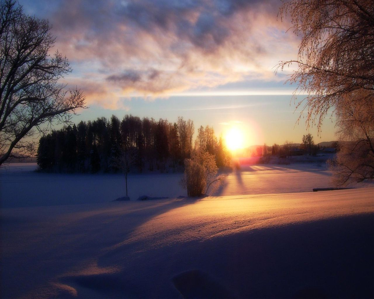 Pin On Sunsets Hd wallpaper sunset snow winter field