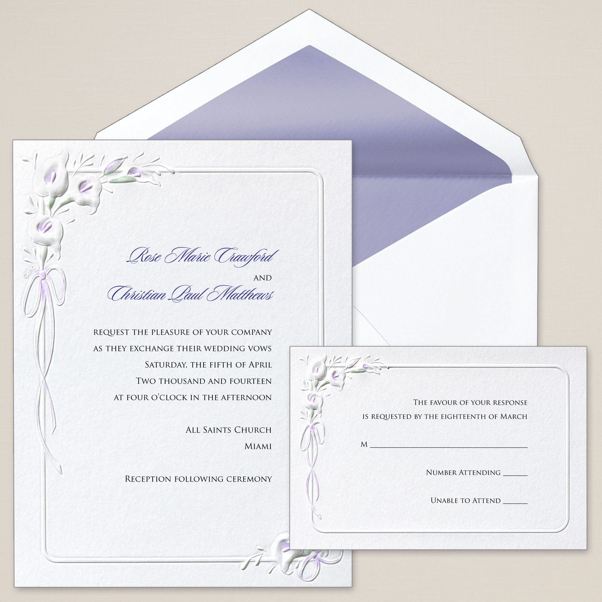 Calla Lilies Wedding Invitation | Traditional, Colors and The o\'jays