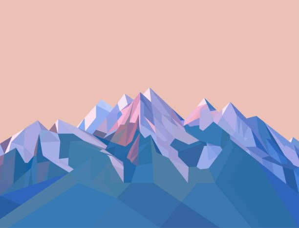 Vector low poly landscape background. High mountains, with snow on…