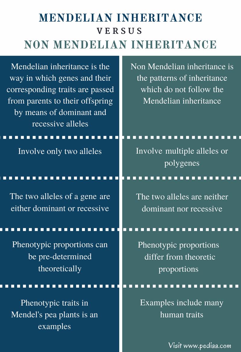 Difference Between Mendelian And Non Mendelian Inheritance Mendelian Inheritance Polygenic Inheritance Inheritance
