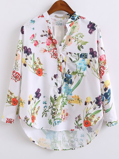 White Floral Print High Low Blouse With Pocket — 0.00 € ---------color: White size: L,M,S